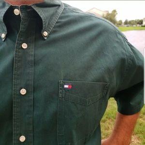 Tommy Hilfiger Shirts - Tommy Hilfiger Dress Shirt Olive Career Mens Work